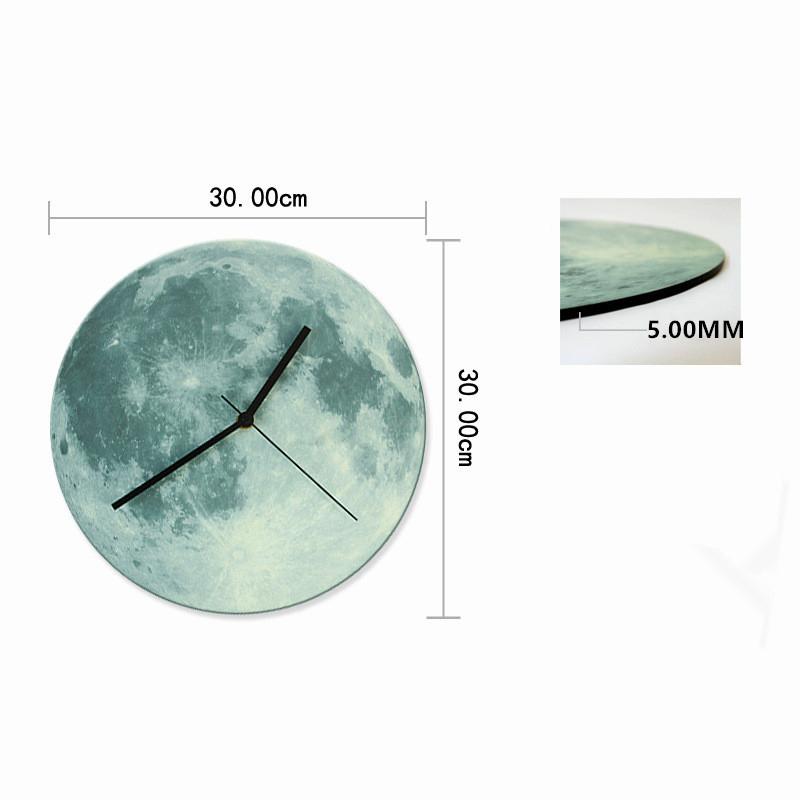 Moon Wall Clock Glow In The Dark Home Decor Clocks Creative Watch