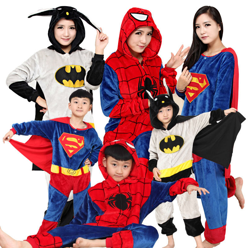 21a0dd672175 Details about Adult Kids Hooded Pajamas Spiderman Cosplay Superman Sleepwear  Nightclothes New