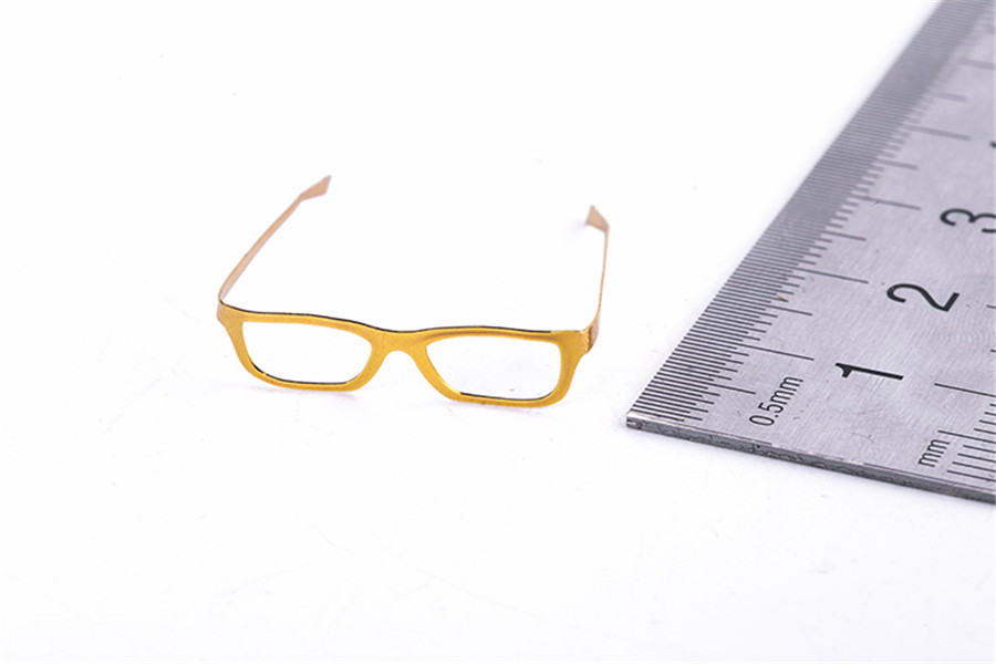 Gold 1//6 fashion eyeglasses artistic metallic materials folded without lenses