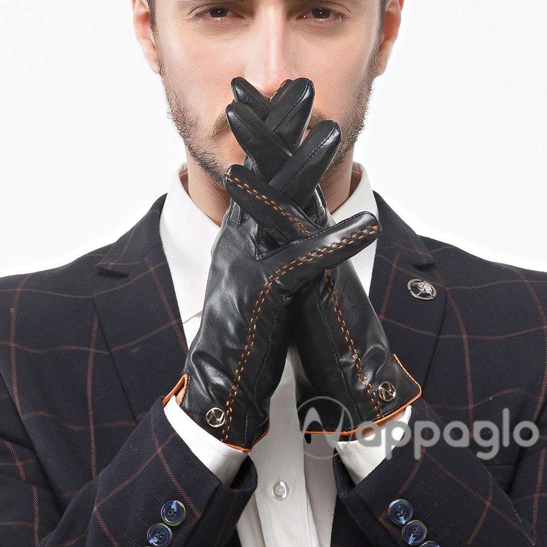 Nappaglo Men GENUINE Nappa Italian Lambskin Leather Gloves Winter Fleece Lining