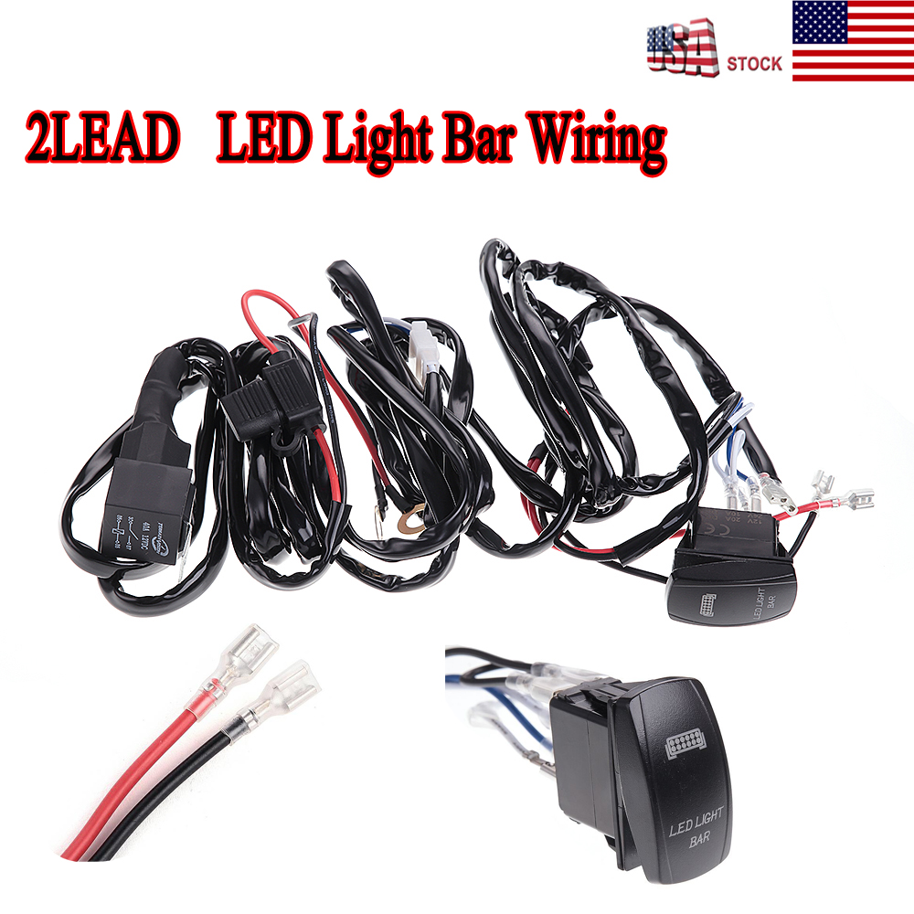 Wiring Harness Green LED Light Bar Laser Rocker Switch On Off Relay Fuse  Car ATV