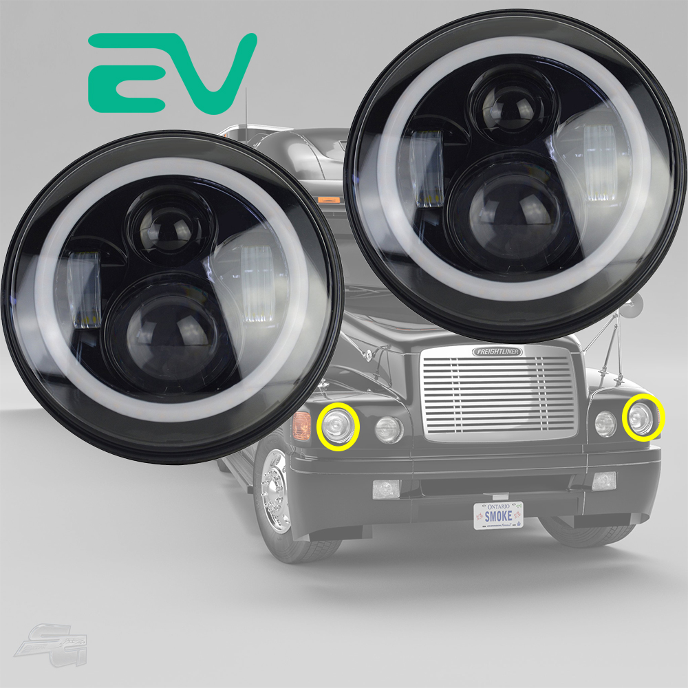 Pair 7inch Black Round Led Headlights Projector For Jeep