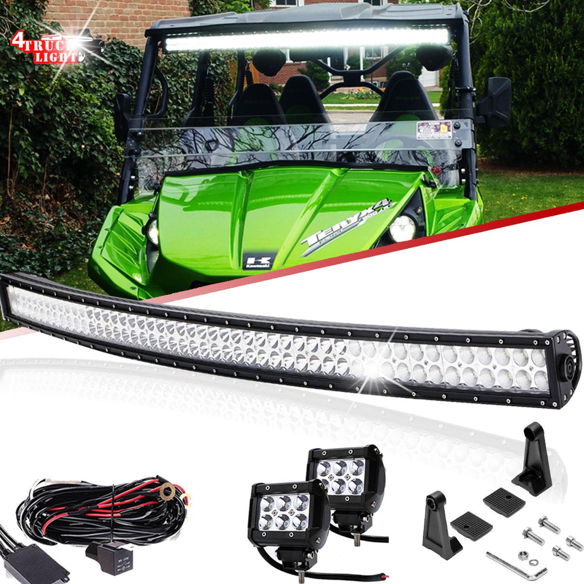 For Kawasaki Teryx Teryx4 Mule 610 4010 Utv Upper Curved 50 Led Electrical Wiring Harness Bar 2x 4 Pods