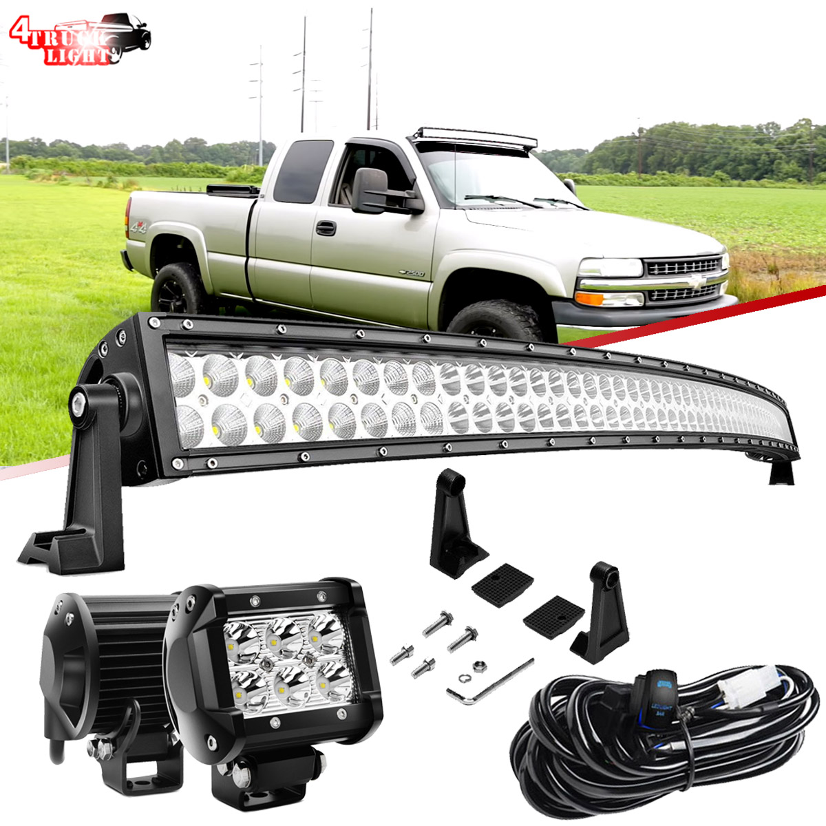 "54/""in Curved 312W LED Light Bar Wiring Kit For Chevy//GMC Silverado"