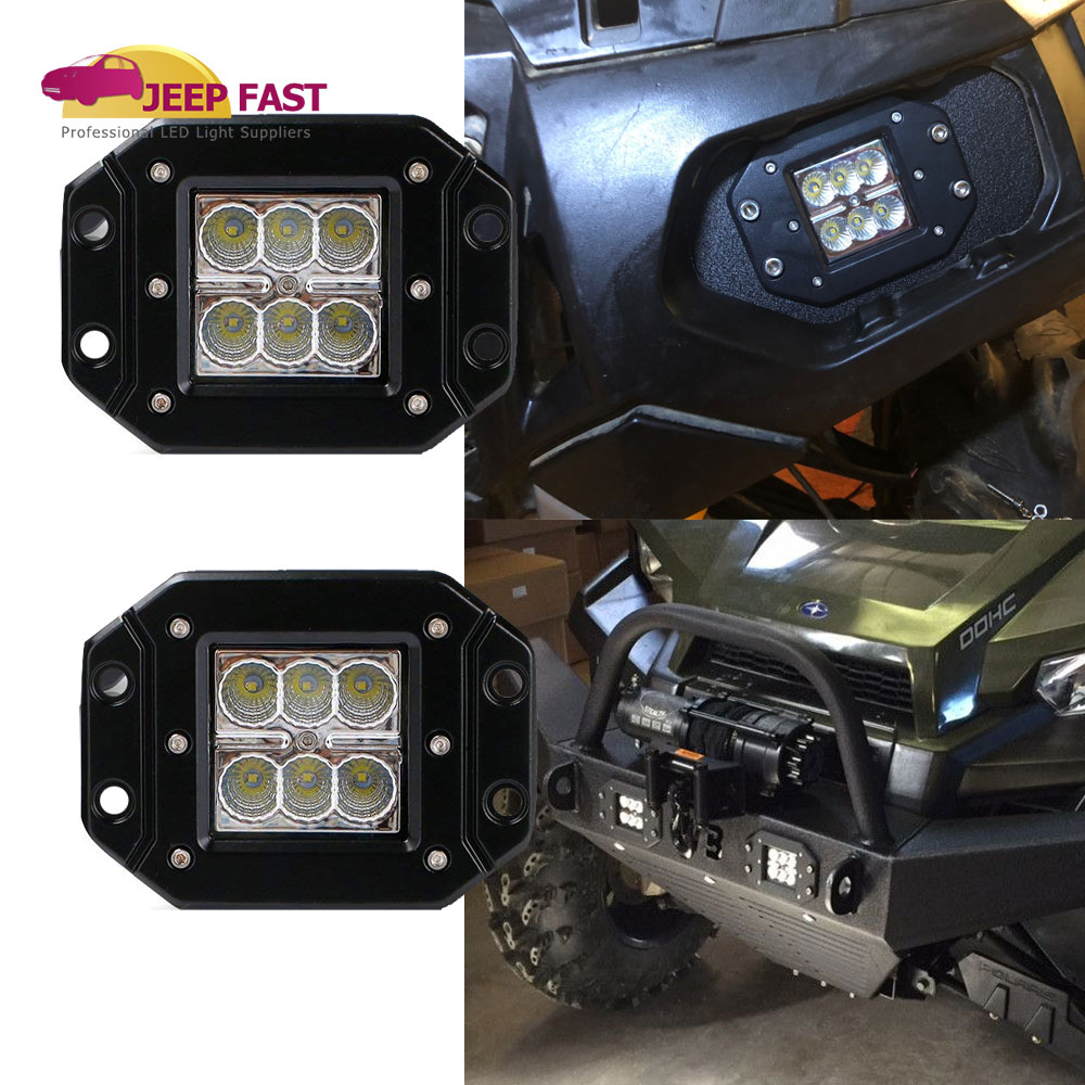 2x Flush Mount Led Work Lamps For Atv Polaris Ranger 570