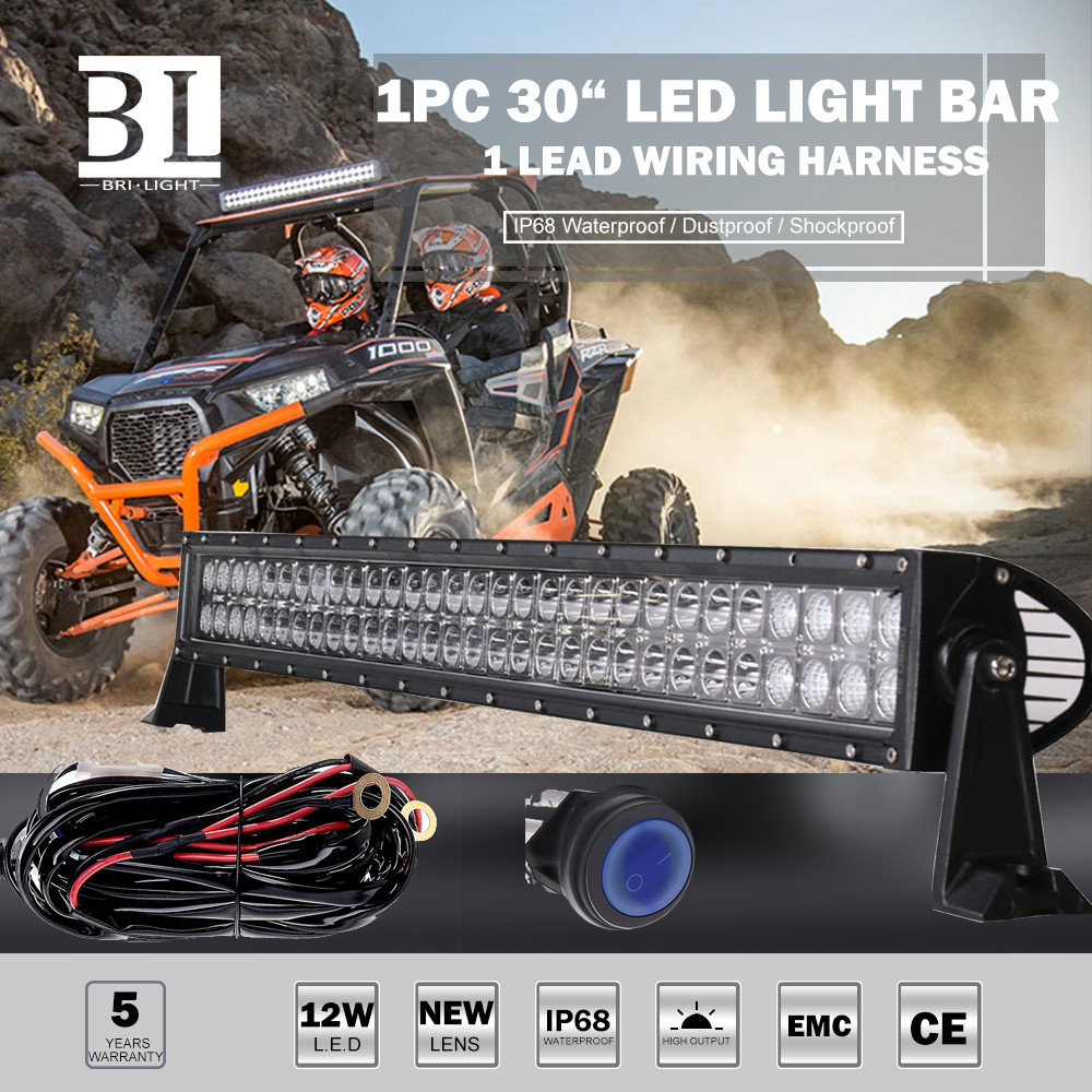"""30""""inch LED Light Bar Wiring remote switch For Polaris RZR 570 800 900  xp1000"""