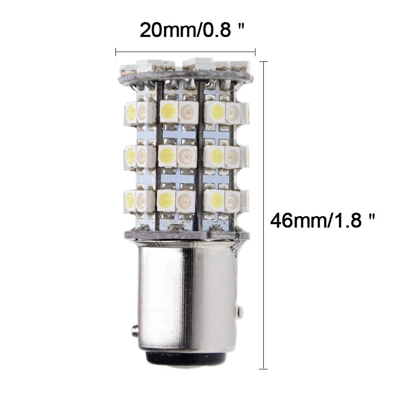 75A6 12V BAY15D 1157 Switchback 60 SMD White Amber LED Light Bulb Car Turn Fogli