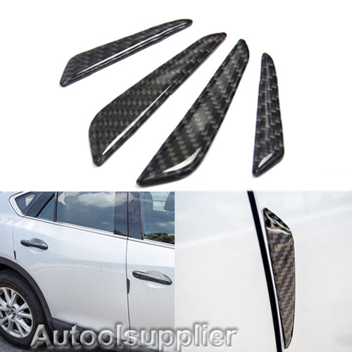 4 Pcs Real Carbon Fiber Car Side Door Edge Protection Guards Stickers Black YJ