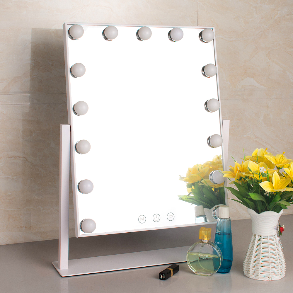 15 Led Bulbs Vanity Large Hollywood Makeup Mirror With Lights Stand Table  Mirror As Chrismas Gifts
