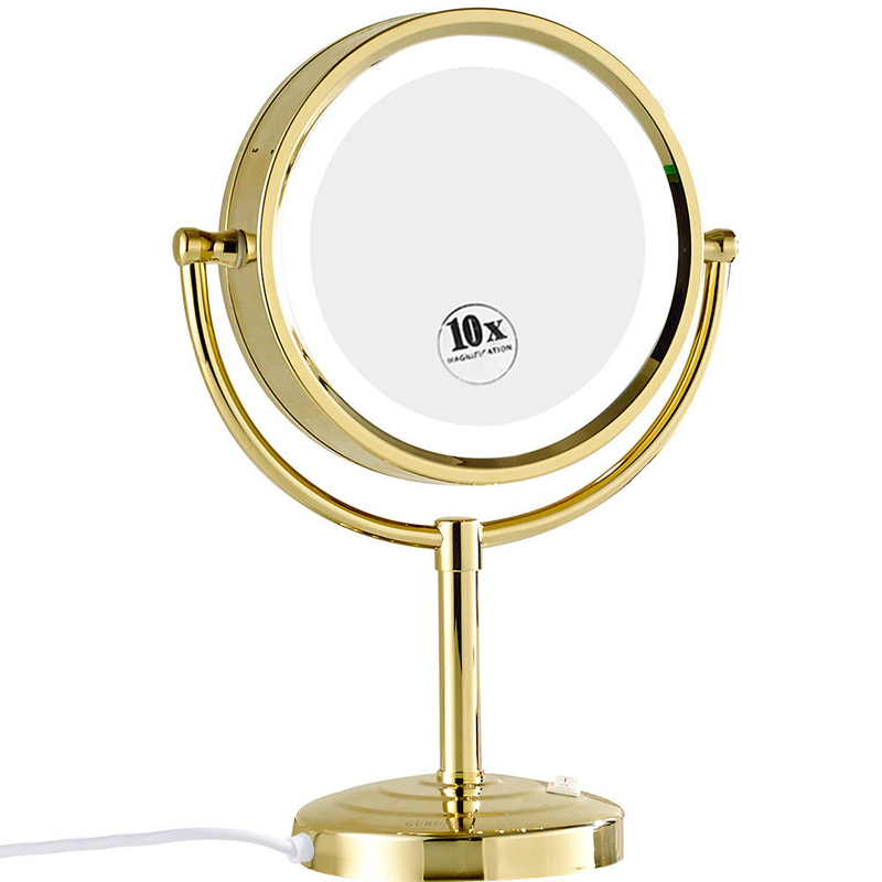 Gurun Gold Tabletop Vanity Lighted Makeup Mirrors Stand With 10x Magnifying Ebay