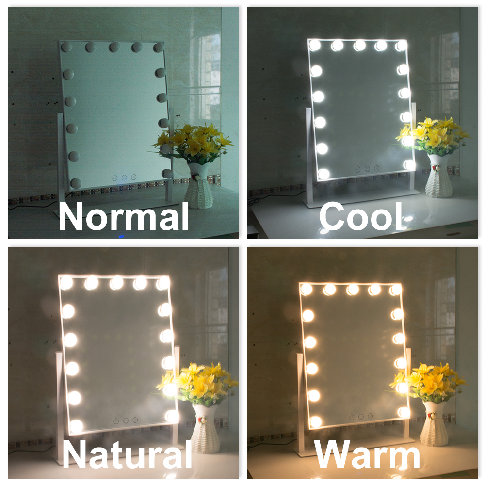 15 Led Bulbs Hollywood Vanity Makeup Mirror With Lights