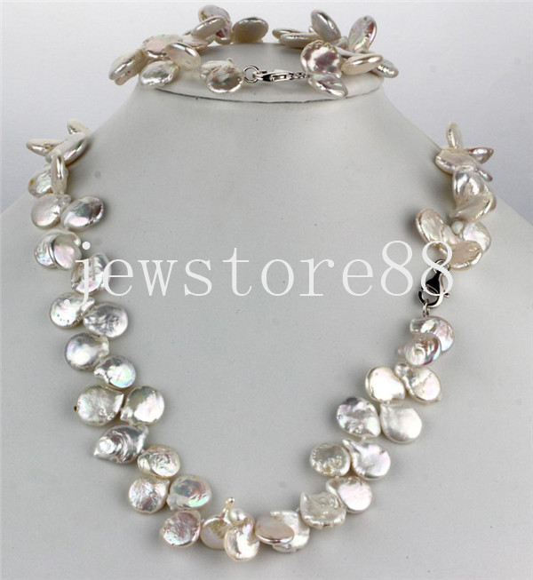 925 sterling silver Freshwater pearl coin Necklace