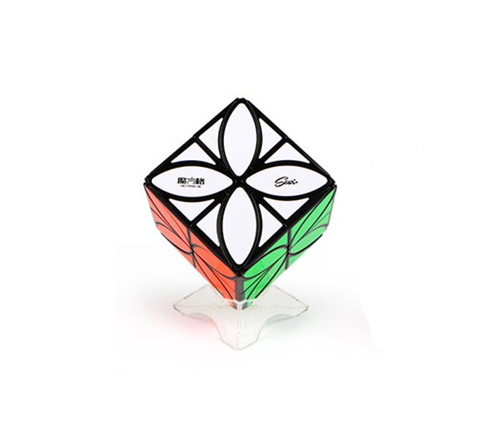 Lucky Clover Four Petal  Floral Irregular Magic Cube Twist Puzzle Black Lite