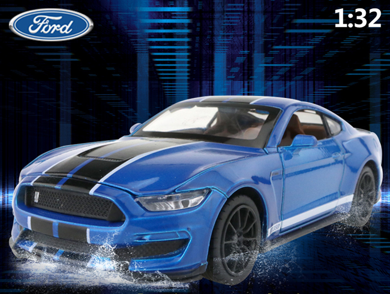 White 1:32 Ford Mustang Shelby GT350 Diecast Model  Sound /& Light 4-Doors Open
