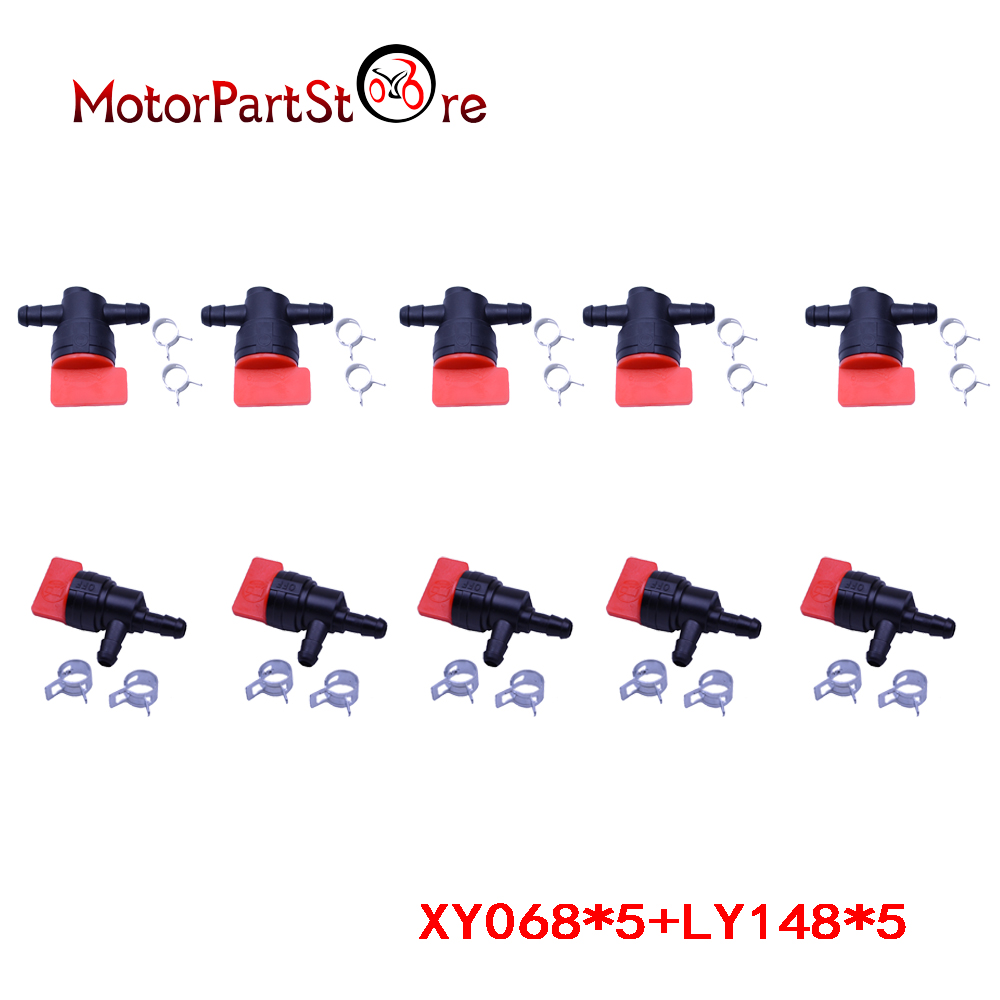 """6x 1//4/"""" InLine Straight /& 90 Degree Gas Fuel Cut off Shut Off Valve W Clamps"""