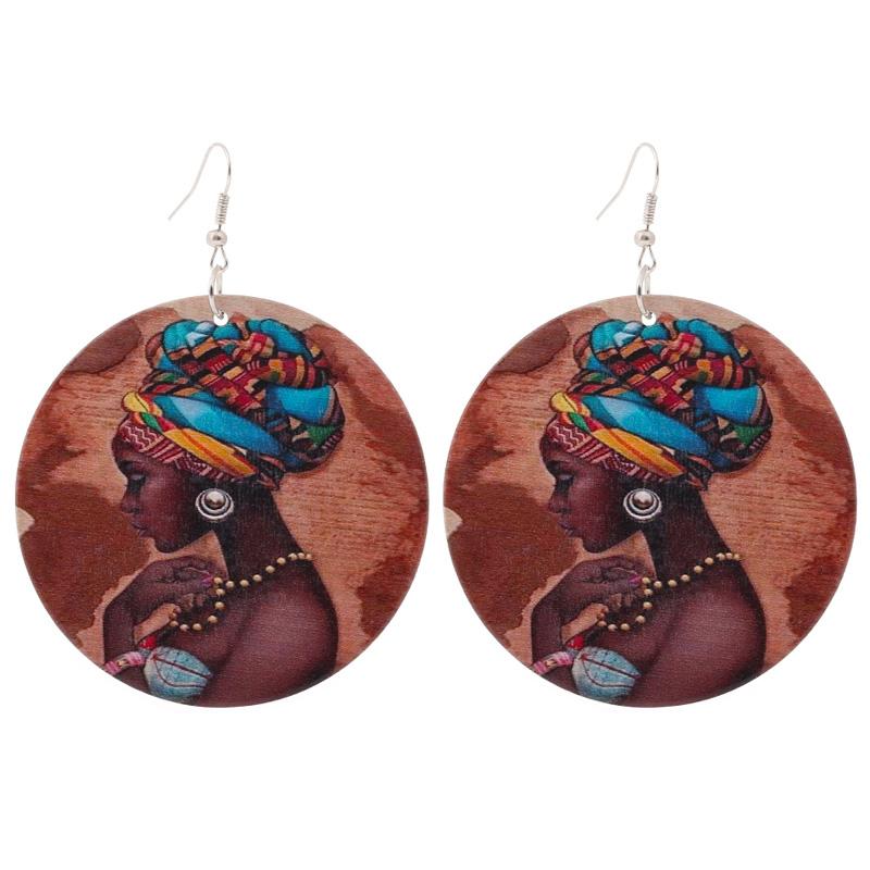 1 paire de bonne qualité en bois boucles d/'oreilles femme africaine en bois pendentif 6cm//2.36/'/' E280