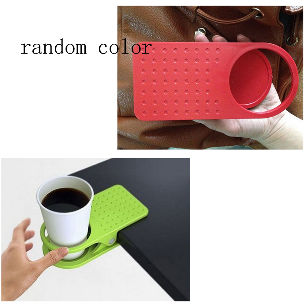 Universal Clip on Coffee Cup Holder Desk Table Beverage Non-Slip Stand Grip NEW