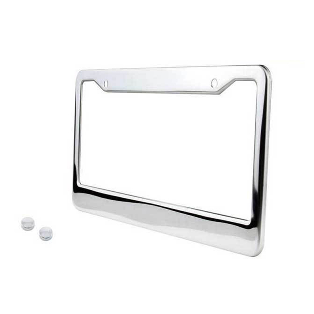2* Stainless Steel Chrome License Plate Frame Tag Cover+Screw Caps Silver Color