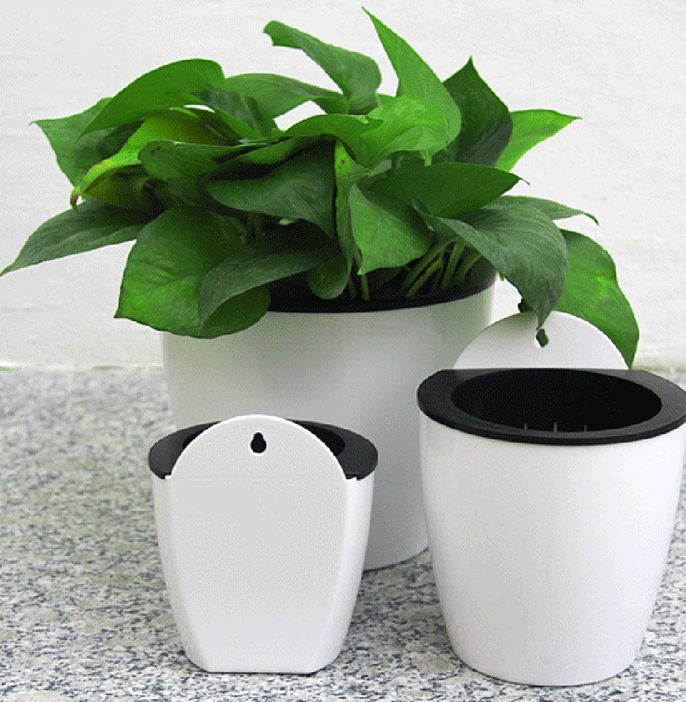 self watering plant flower pot wall hanging plastic. Black Bedroom Furniture Sets. Home Design Ideas