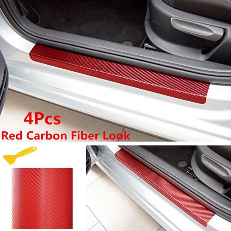 4x Car Door Sill Scuff Welcome Pedal Protect Carbon Fiber Sticker Anti Scratch