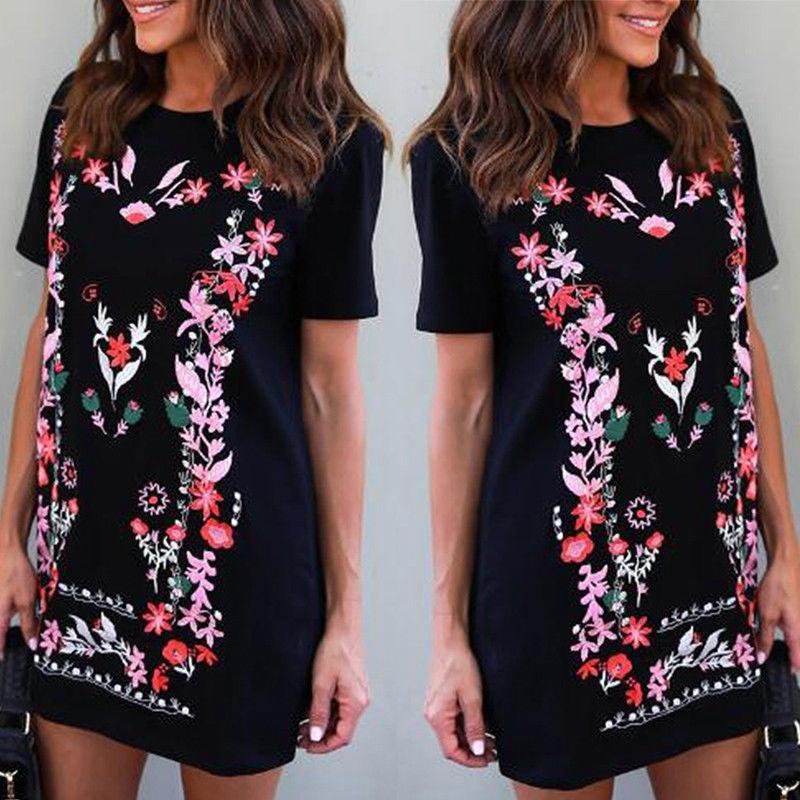 dde8d9c617ad0f Womens Floral Printed Loose Long Tops Ladies Summer Crew Neck T Shirt Mini  Dress