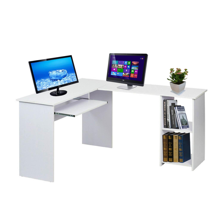 L Shaped Corner Computer Desk Office Home Furniture With Keyboard Shelf Workstation