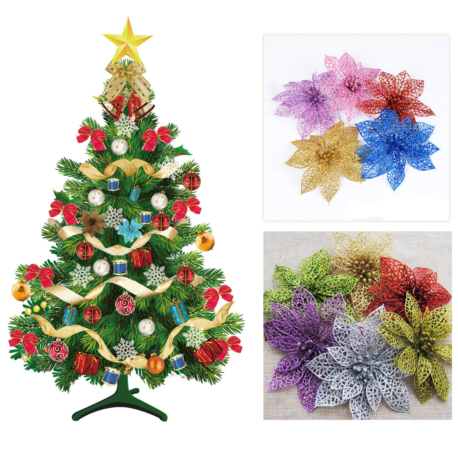 merry christmas tree decorations artificial flower ornaments pendant xmas tree