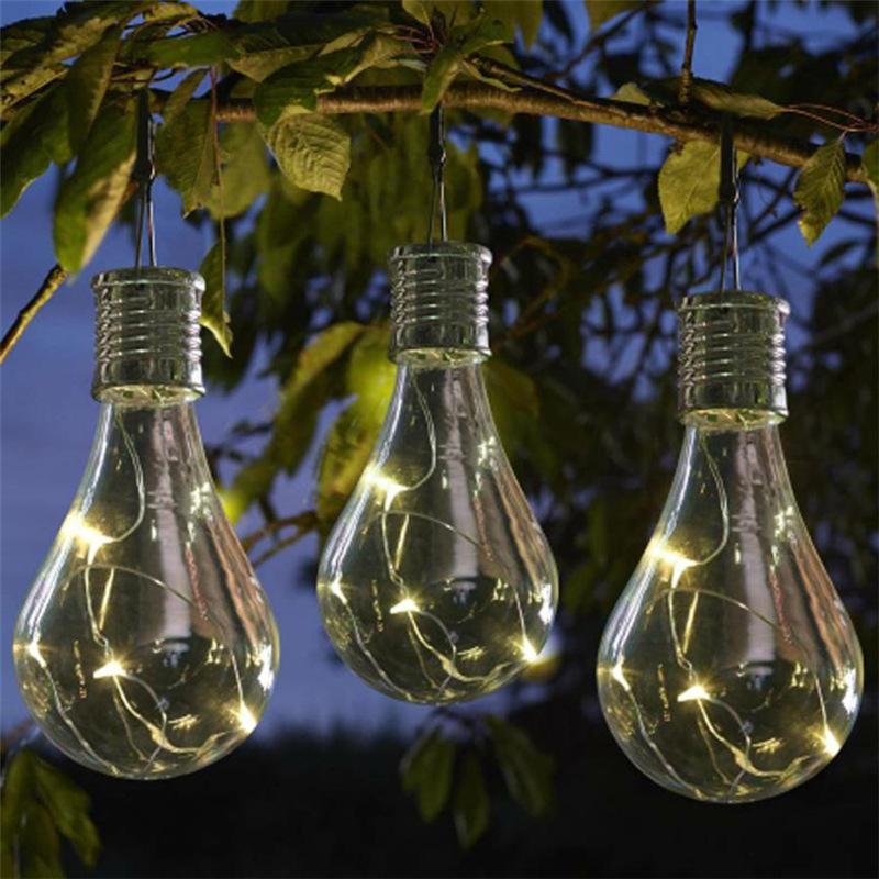 Solar Ed Warm White Led Hanging Light Bulbs Garden Lights Set Outdoor Lamp