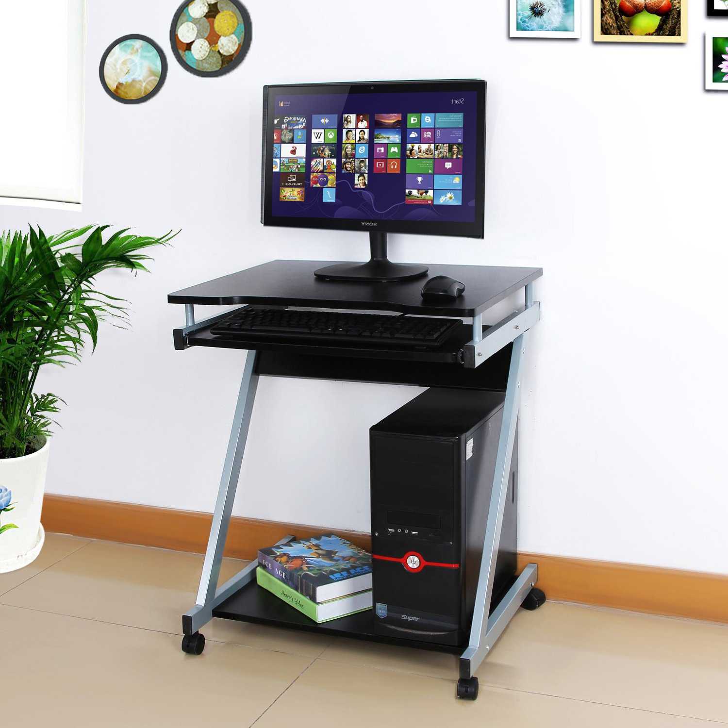 Small z shaped computer desk pc table movable workstation with sliding keyboard 4 wheels black
