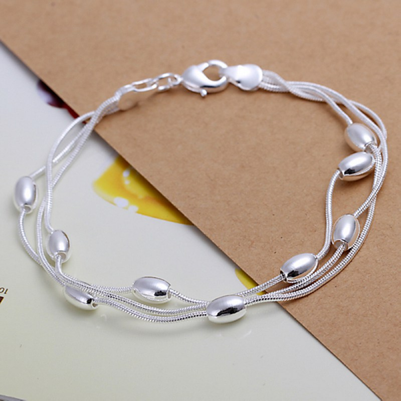 Fashion 925Sterling Solid Silver Jewelry Beads Chain Bracelet For Women H599
