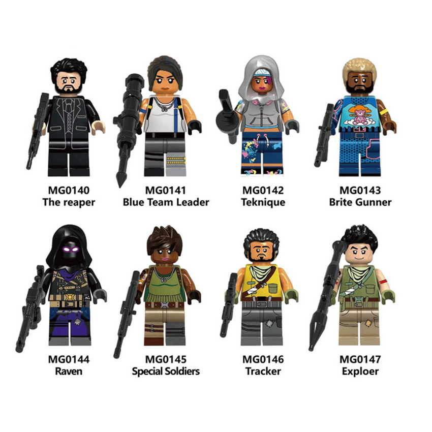 Fortnite Game Soldier Building Blocks Minifigure Brick Toys Raven