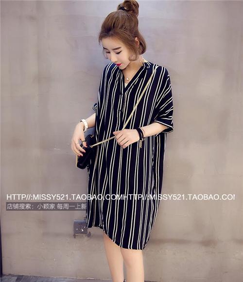 M-5XL-Korean-Women-V-Neck-Striped-Loose-Slim-Tunic-Casual-Summer-Shirt-Dress-New thumbnail 5