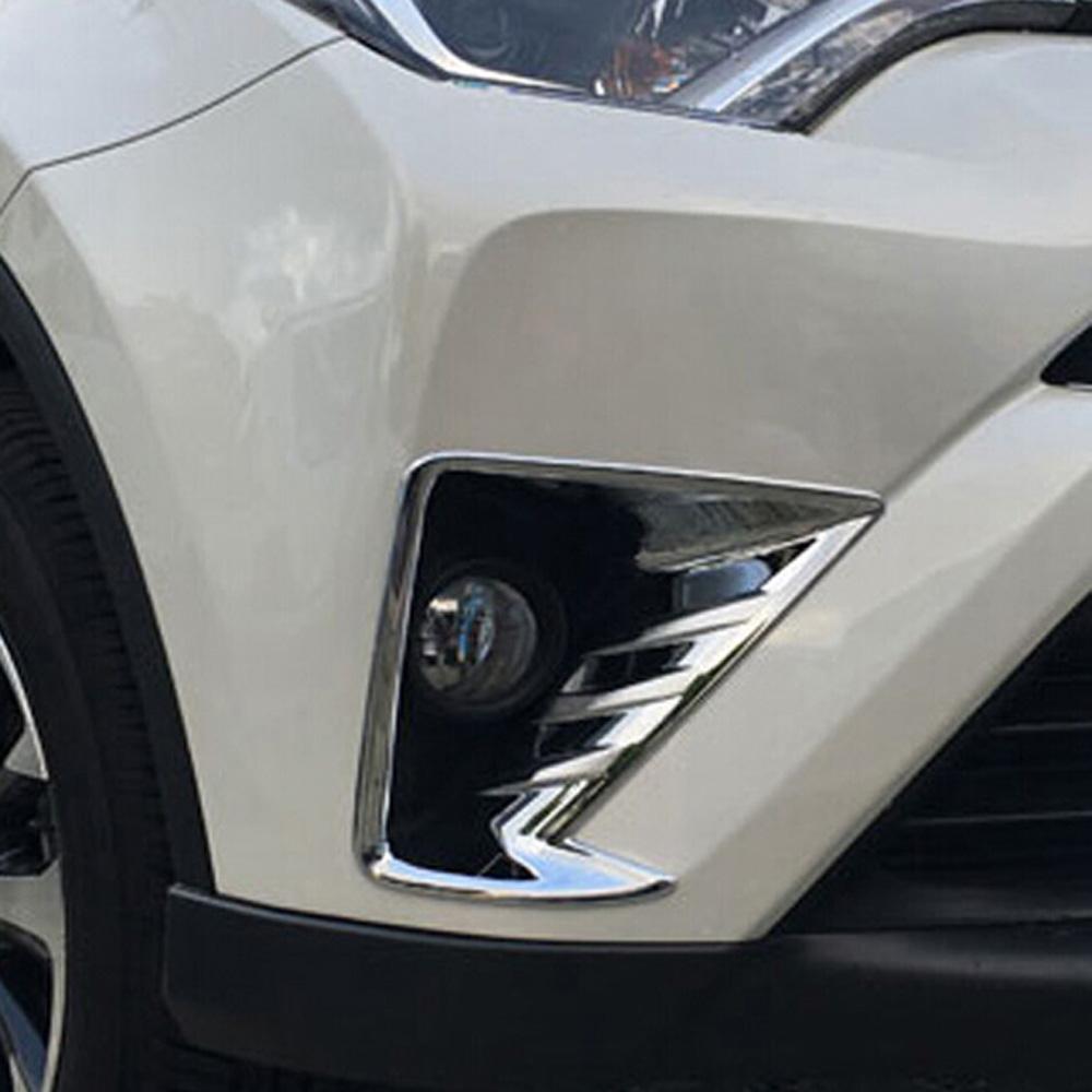 2PCS Front Fog Light Covers trim ABS Chromed for Toyota Highlander 2017-2018