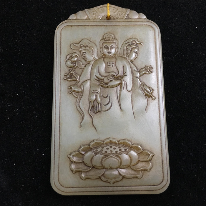 Old Chinese antique Jade hand-carved People Pendants