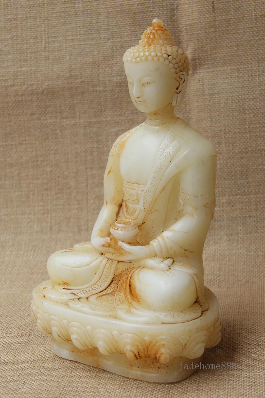 "8/"" China Collect Old White Jade hand Carved bowl Sakyamuni Buddha statue"