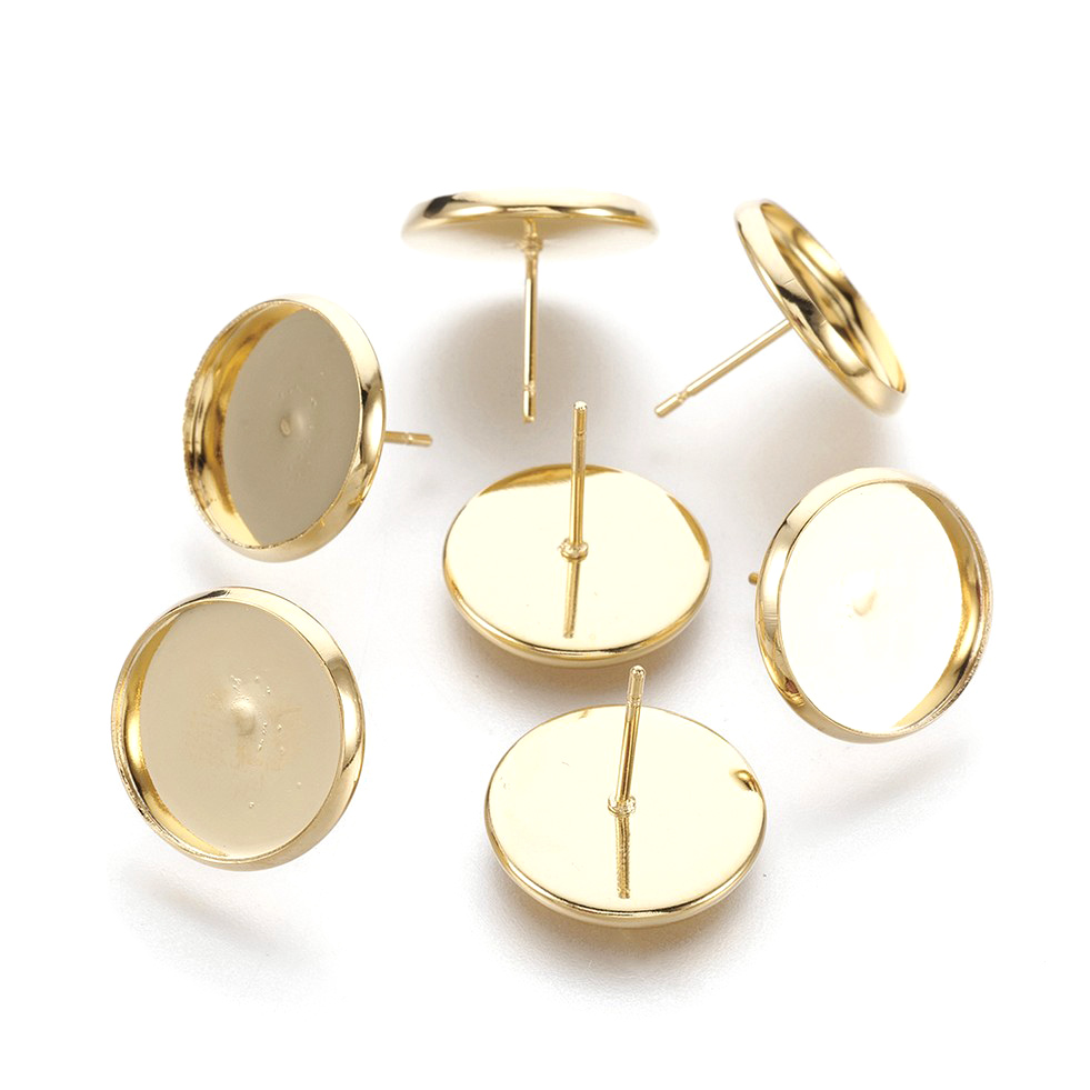 50pcs 304 Stainless Steel Flat Earring Posts w// Loop Gold Tone Studs 6mm Tray