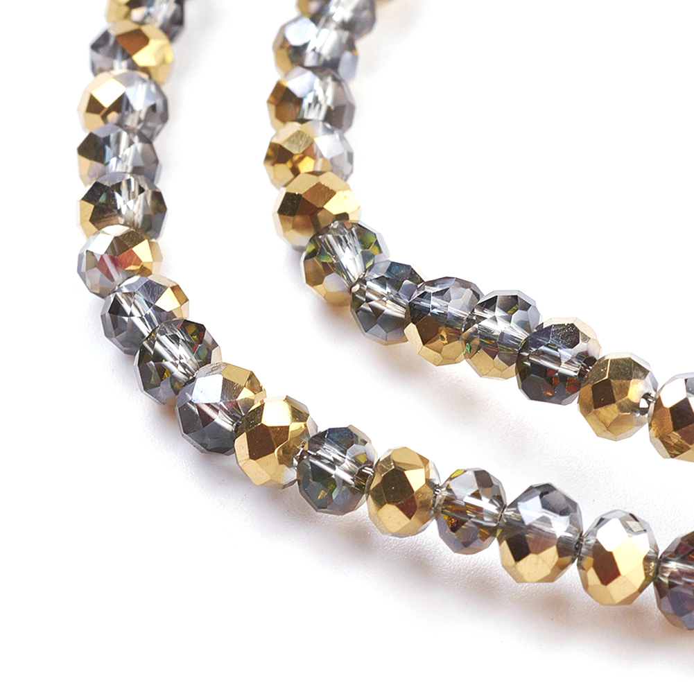10Strds 3mm Electroplate Glass Beads Rondelle Faceted AB Color Plated Loose Bead