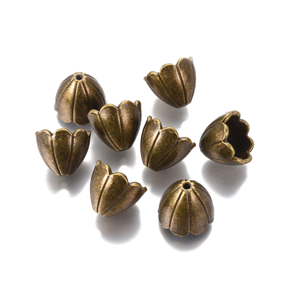 1000 Tibetan Alloy Flower Bead Caps Carved 4-Petal Silver Tone Tiny Findings 6mm