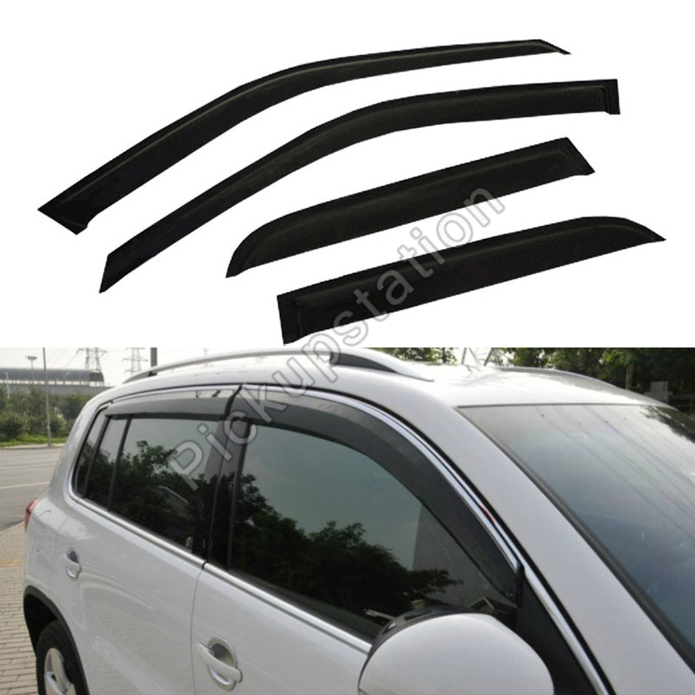 Side Window Deflector With Outside Mount Tape-On Type DEAL 4-Piece Set Vent Smoke Window Visor Custom Fit For 2009-2014 Ford F150 Super Crew Cab With 4 Full Size Doors Only