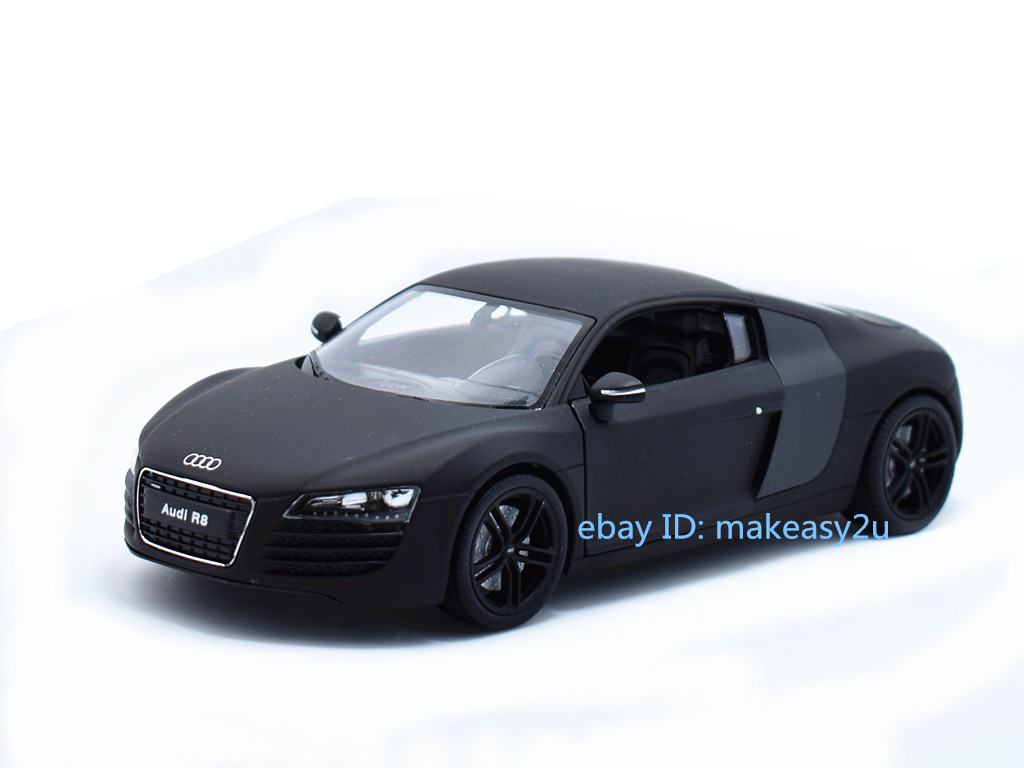 Welly 1:24 Audi R8 Diecast Metal Model Roadster Car Vehicle Toy New Matte  Black