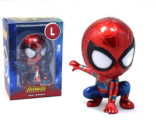 "Avengers IRON SPIDER MAN Bobble Head #Q Figure 3.3/"" Toy Doll New in Box"