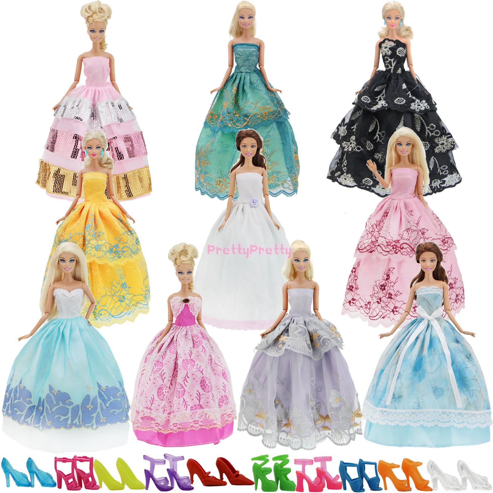 details zu gesamt zufällige 15 = 5 kleider & 10 schuhe hochzeit kleidung  für barbie puppen