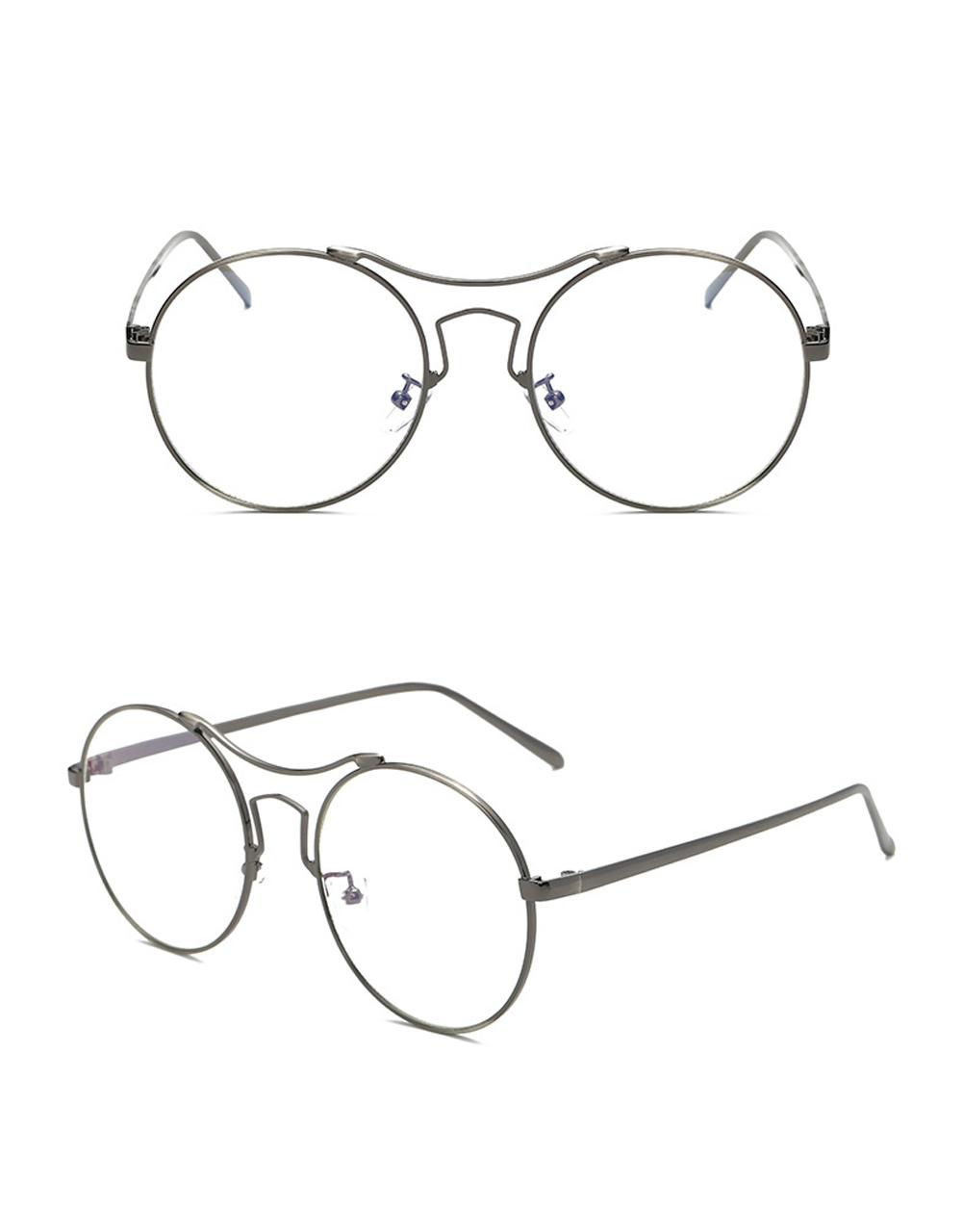 Q Large round frame glasses frame anti-blue glasses Metal full frame ...