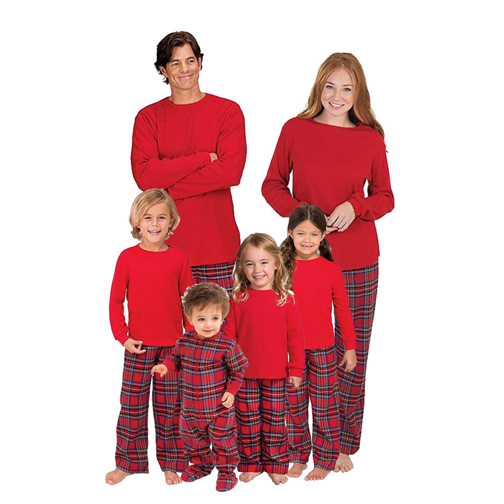 Family Matching Christmas Pajamas Sets Plaid Xams Sleepwear for Mom ...