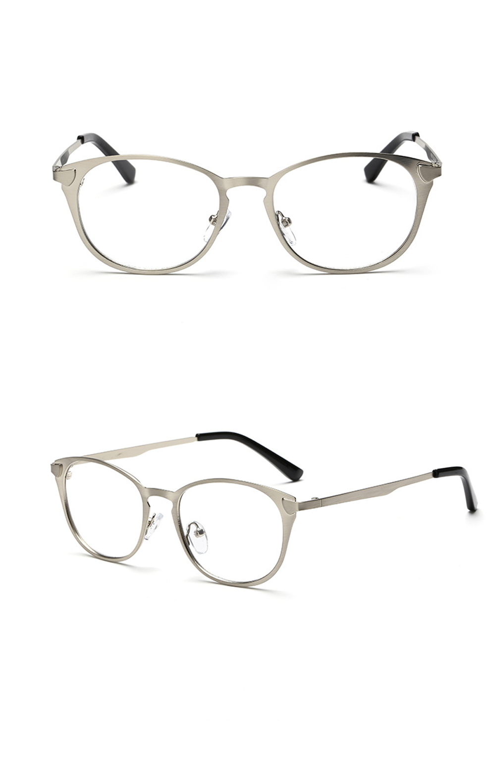 E Retro small frame glasses metal round frame glasses without ...
