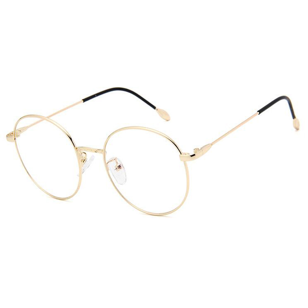 UK Retro Round Metal Frame Glasses Clear Lens UV Spring Hinge ...
