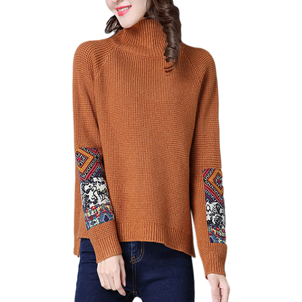 A-Women-High-Collar-Long-Sleeve-Pullover-Sweater-Winter-Knitted-Loose-Jumper-Top