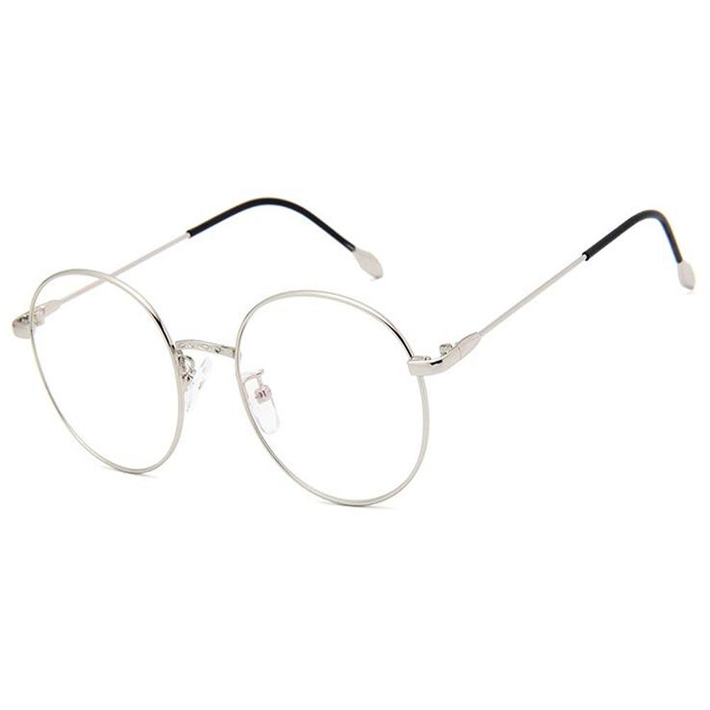 Retro Runde Metall Rahmen Brille Klare Linse Feder Scharnier Brille ...