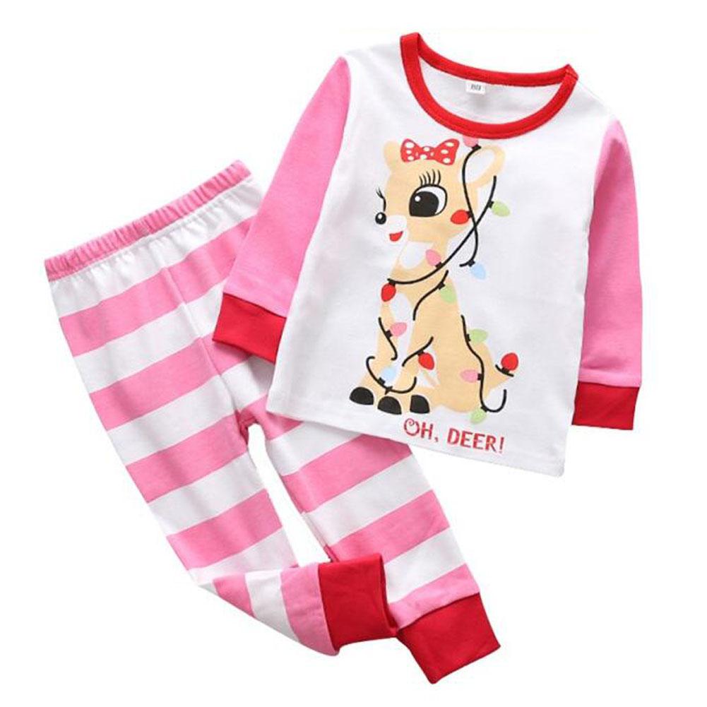 YY Children Boys Girls Christmas Printing Sleepwear Famliy Cotton ...