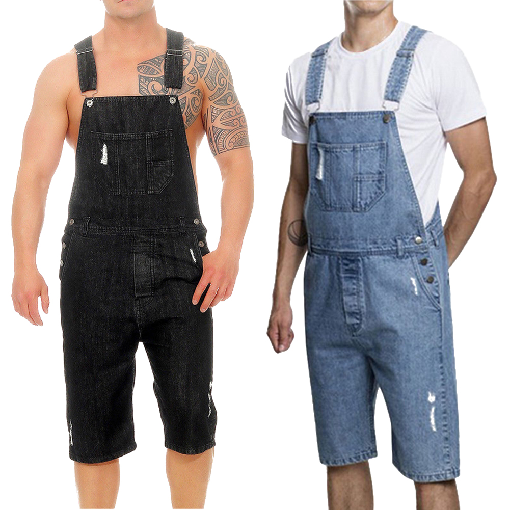 Summer Mens Strap Causal Overalls Shorts Jumpsuit Rompers Dungarees Trousers UK